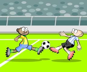 Argentina vs Brazil Cartoons Soccer players