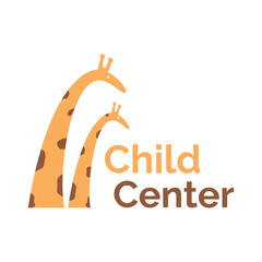 Vector logo template for child center, baby shop, store or market . Illustration of two giraffes: mother and child. Can be used for print on clothes for boys and girls, decoration, design banners, web