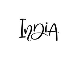 India. Modern calligraphy. Typography poster. Handwritten text for your design