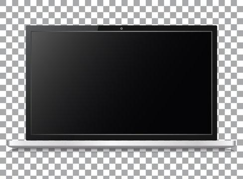 Set of realistic laptop on transparent background