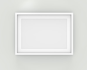 Picture frame on Wall. 3D render of Classic White Frame with white Passe-partout on Wall.  Blank for Copy Space.