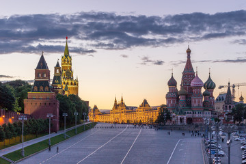 Saint basil cathedral, moscow kremlin and red square in summer. Sky with clouds. Russia