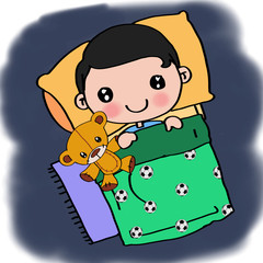 Sleeping  child in bed