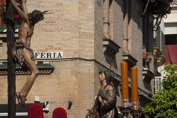 Cristo en la cruz de la hermandad de la hiniesta, semana santa en Sevilla