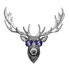Deer wearing glasses with dollar sign Illustration with wild animal for t-shirt, tattoo sketch, patch