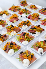 small dishes with savory appetizers