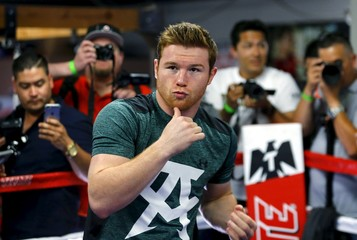 Middleweight boxing champion Canelo Alvarez works out in San Diego, California