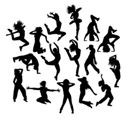Happy and Fun Breakdancer Silhouettes, art vector design