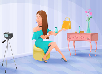 Blogger or video channel host trendy girl sitting in front of camera and advertising beauty products, perfume and cosmetics, vector illustration with cartoon character