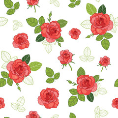 Vector vintage red roses and green leaves on white background seamless repeat pattern. Great for retro fabric, wallpaper, scrapbooking projects.