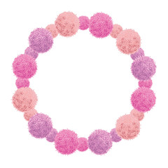 Vector Pink Baby Girl Birthday Wreath Party Pom Poms Circle Set and Round Frame. Great for handmade cards, invitations, wallpaper, packaging, nursery designs.
