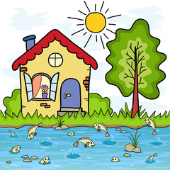 The cartoon country house and a lake with fishes, summer vacation