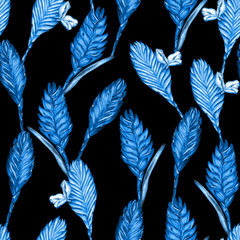 Seamless floral tropical pattern. Hand painted watercolor exotic bromelia flowers, blue trend hues on black background. Textile design.