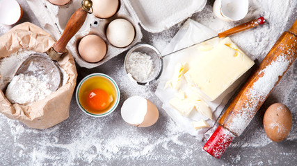 Background Baking Ingredients Flour Eggs Butter. Wall mural