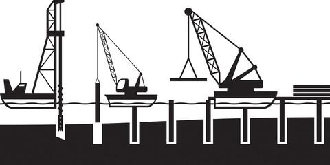 Construction of sea port - vector illustration