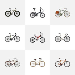 Realistic Bmx, Folding Sport-Cycle, Hybrid Velocipede And Other Vector Elements. Set Of Bicycle Realistic Symbols Also Includes Bicycle, Wooden, Bmx Objects.