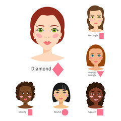Set of different woman face types vector illustration character shapes girl makeup beautiful female