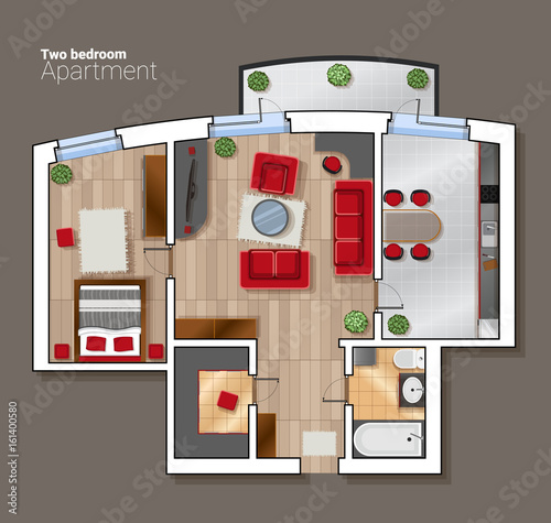Modern Furniture Top View vector top view floor plan of the house room. modern dining room