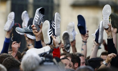 English fans hold up shoes - Euro 2016