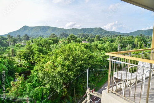 Balcony With Lush Green Mountain View Stock Photo And Royalty Free