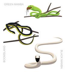 Snake African Venomous Set Cartoon Vector Illustration