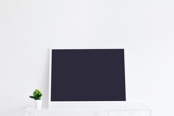 Modern clean interior blank screen and frame