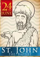 Hand Drawn Design for Saint John's Eve in June 24, Vector Illustration