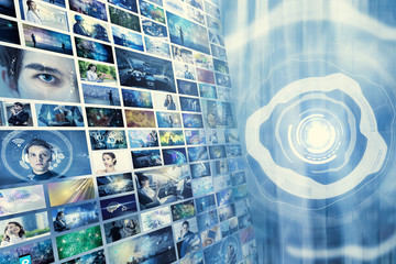 Information network concept. Virtual museum. Video streaming service. Wall mural