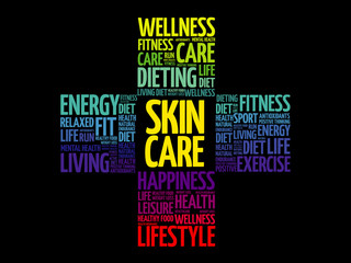 Skin care word cloud collage, health cross concept