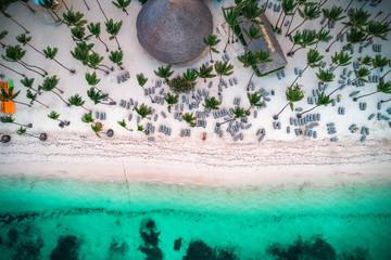 Aerial view of tropical island beach, Punta Cana