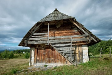 wooden and stone barn in Montenegro