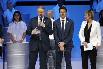Bernard Lapasset, International Rugby Board Chairman, and French canoe champion Tony Estanguet, co-president of the Paris candidacy, attend the presentation of the Paris candidacy for the 2024 Olympic and Paralympic Games in Paris