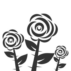 Three black and white roses, roses with thorns and leaves