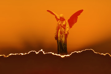 Angel in heaven over bright sky background