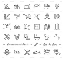 Construction icons Repair house Home renovation. Building and household tools. Repair thin line art icons, Vector flat illustration