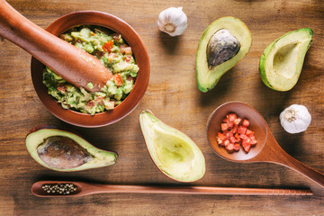 Fresh homemade Guacamole. Mexican sauce from ripe avocados