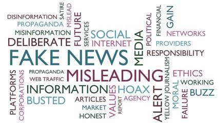 Fake news word tag cloud. 3D rendering, white variant.