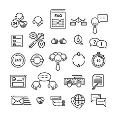 Line icons set of technical support and helpdesk service. Editable strokes. Vector illustration.