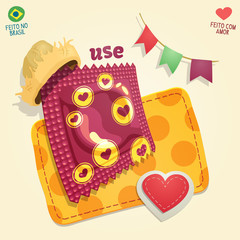 Condom package wearing a straw hat in a brazilian June Party thematic composition. For campaigns of venereal disease prevention during brazilian June Parties.