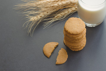 Homemade bakery:Thin biscuits or cookies baked from multi grains so delicious, crisp and crack snack. Biscuits cookies on granite table serve with fresh milk. Stack of golden brown cookies.