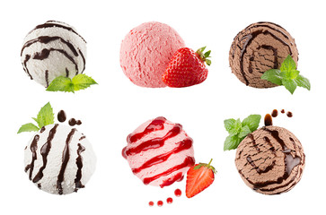 Ice cream scoops collection of six balls, decorated striped chocolate sauce, mint leaves, slice strawberry. Isolated on white background. Template for menu.