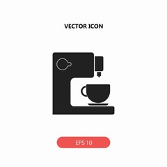coffee maker with cup vector icon