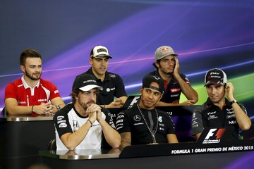 Formula One drivers attend a news conference before the Mexican F1 Grand Prix at Autodromo Hermanos Rodriguez in Mexico City