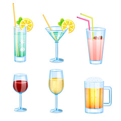 Drinks set with different beers and cocktails.