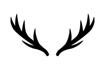 Deer antlers. Vector illustration drawing. Isolated deer antlers print.