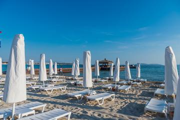 Cesme, Turkey - June 17, 2017 : Ilica Beach view in June. Ilica Beach is popular tourist destination in Turkey.