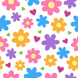 Cute Cartoon Floral Seamless Pattern Flowers And Hearts Vector Illustration Doodle Drawing