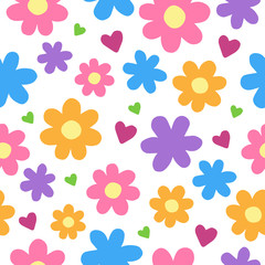 Cute cartoon floral seamless pattern. Flowers and hearts pattern, vector illustration doodle drawing. Isolated on white background.