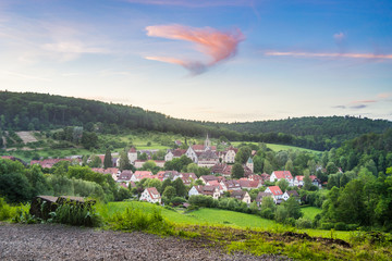View of the Village Bebenhausen with its Monastery at sunset