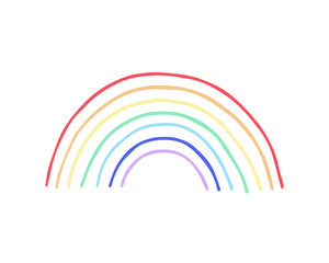 Rainbow doodle drawing, vector illustration isolated on white background.